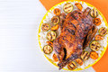 Roasted Whole Duck in honey mustard soy glaze, close-up