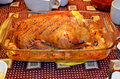 Roasth duck traditional stuffed with apples Royalty Free Stock Photography