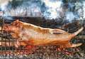 Roasting piglet on the split firewood Royalty Free Stock Photography