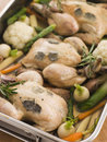 Roasting Tray of Black Truffled Poussins Stock Photography