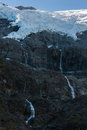 Rob Roy glacier with meltwater waterfalls Royalty Free Stock Photo