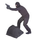 Robber aiming with his gun sack isolated on white background Royalty Free Stock Image