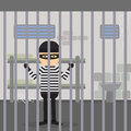 Robber behind the bars. Royalty Free Stock Photo