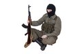 Robber with kalashnikov isolated gun Royalty Free Stock Image