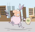 Robber running through a city in a bunny costume Stock Photos