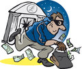 Robber smash and grab running Stock Photography