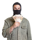 Robber with stolen money on an isolated white background for cut out Stock Photo