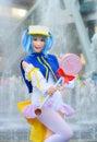 Robe cosplay thaïlandaise d idole d étoile comme caractère de moetan Photographie stock libre de droits