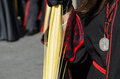 Robe detail of the of a participant in the palms sunday procession semana santa in valladolid spain Stock Photography