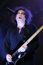 Robert smith singer and guitarist of the legendary rock band the cure barcelona spain june performs at san miguel primavera sound Stock Photography