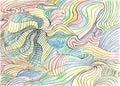 Robić abstrakcjonistyczne kolorowe krzywy pencil Zdjęcia Stock