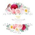 Robin bird and flowers vector design frame