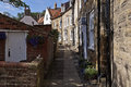 Robin hood s bay cobbled alley and street scene Royalty Free Stock Image