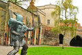 Robin hood statue in front of nottingham castle united kingdom Stock Images