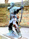 Robin hood statue nottingham the of outside castle england uk Stock Image