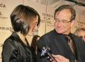 Robin williams actor stand up comedian film producer screenwriter is joined by his daughter zelda an actress on the red Royalty Free Stock Photo