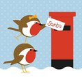 Robins posting letter Royalty Free Stock Photo