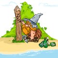 Robinson Crusoe  desert island cartoon illustration Royalty Free Stock Photo