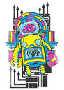 Robo life vector illustration ideal for printing on apparel clothes Royalty Free Stock Image