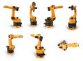 Robot arm for industry renders set from different angles on a white. 3D illustration Royalty Free Stock Photo