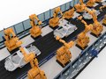 Robot assembly line in car factory Royalty Free Stock Photo