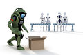 Robot bomb squad d render of a technician investigating a suspicious box with bystanders watching against a white background Royalty Free Stock Image