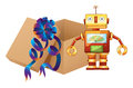A robot and a box illustration of on white background Royalty Free Stock Photo