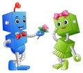 Robot Boy Giving A Flower For Robot Girl
