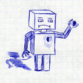 Robot with broken heart. Children's drawing in a school notebook Royalty Free Stock Photo