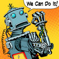 Robot we can do it protest future power machine Royalty Free Stock Photo