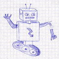 Robot. Children's drawing in a school notebook Royalty Free Stock Photo