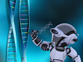 Robot with DNA strands Royalty Free Stock Photo
