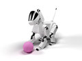 Robot dog from the white plastic play with pink ball on a white background Royalty Free Stock Image