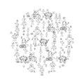 Robot doodles vector.