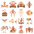 Robot forms icons set, cartoon style