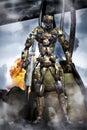 Robot futuristic soldier in combat