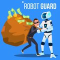 Robot Guard Caught The Thief In Mask With His Hand Vector. Isolated Illustration