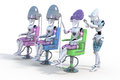 Robot hair salon three female robots sitting on style chairs getting their styled against a white background Royalty Free Stock Photos