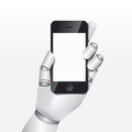 Robot hand hold smartphone design vector illustration concept Stock Photo