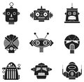 Robot heads a selection of funky in vector format easily editable for modifying or colouring Stock Images