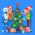 Robot Helps To Decorate Christmas Tree For Happy Family Vector. Isolated Illustration