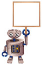 A robot holding an empty board illustration of on white background Royalty Free Stock Photos