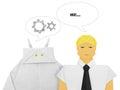 Robot and human dialog Royalty Free Stock Photo