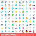 100 robot icons set, cartoon style