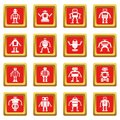 Robot icons set red