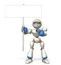 Robot indicating the message board  robot isolated computer generated image Royalty Free Stock Image