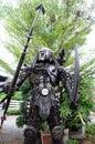 Robot iron aliens in the garden Royalty Free Stock Photos