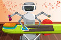 Robot ironing clothes a vector illustration of a Royalty Free Stock Image