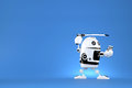 Robot with katana on blue background. Contains clipping path Royalty Free Stock Photo