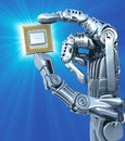 Robot keeps fantasy microcircuit  or processor. High technology  illustration Royalty Free Stock Photo
